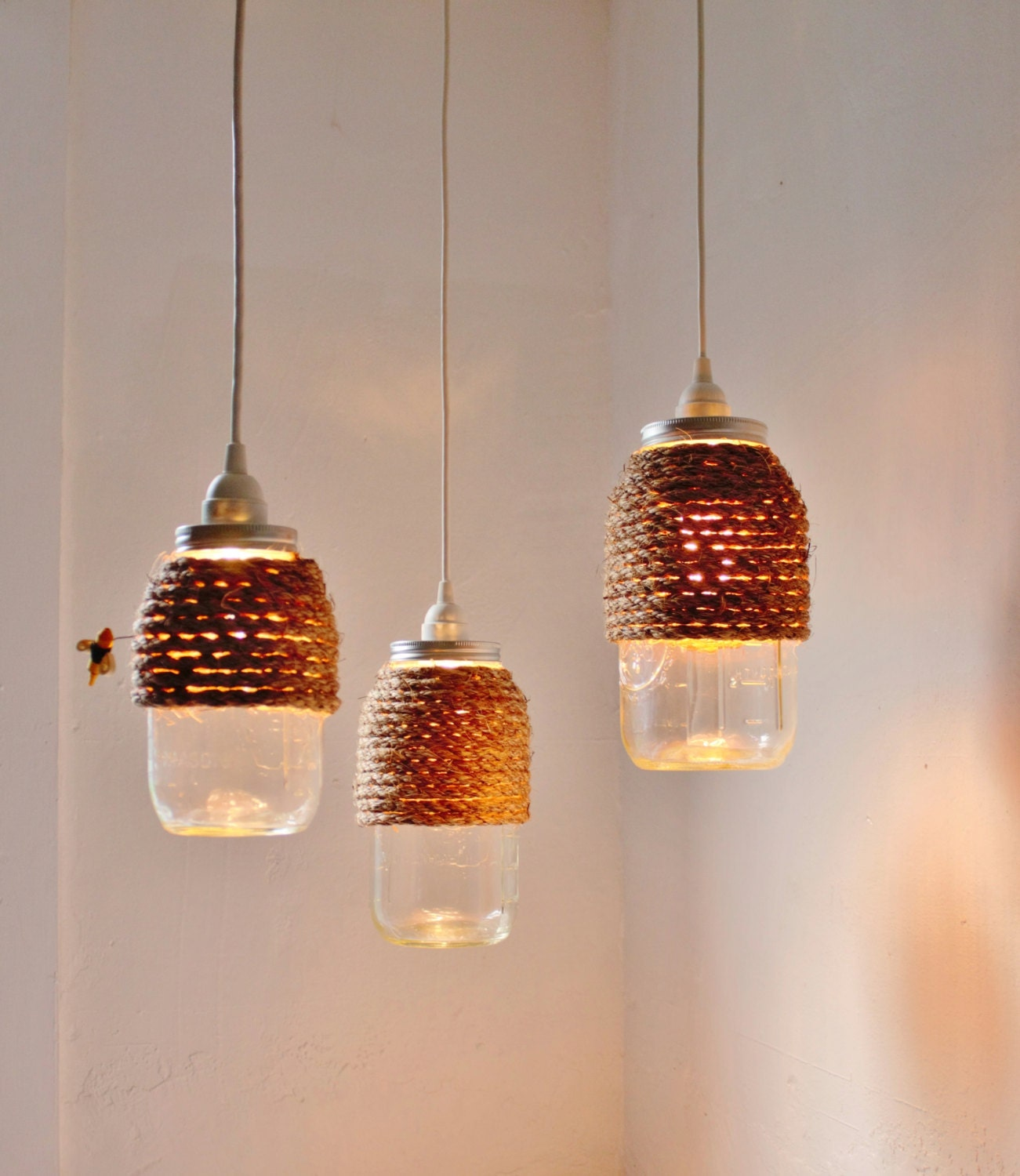 The hive mason jar pendant lights set of 3 hanging lighting for Hanging lights made from mason jars