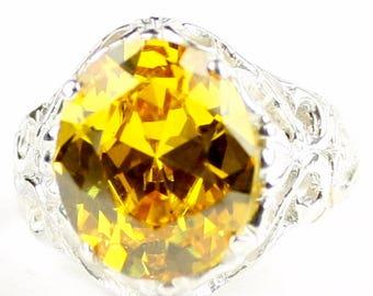 Golden Yellow CZ, 925 Sterling Silver Ring, SR114