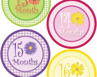 Girl Monthly Stickers for Baby Bodysuit - Gingham & Flowers - Daisy - Baby Shower Gift - Baby Girl 13-24 Months - Waterproof