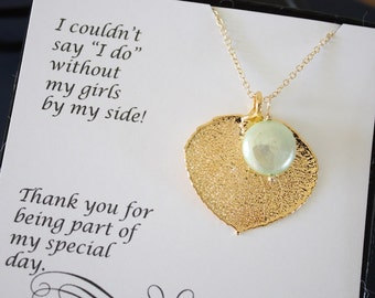 4 Gold Leaf Bridesmaid Necklaces Mint Green Pearl, Real Leaf, Pearl Necklace, Thank you card, Leaf Necklace, Leaf Pendant, Bridesmaid Gift