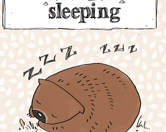 Australian art Mini Print Wombat Sleeping