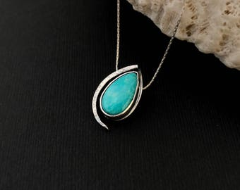 Contemporary Turquoise Necklace Hand Forged Sterling Silver Pear Charm Silversmith  Wrought  Hammered Adjustable Length Chain Modern Design