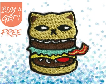 Hamburger Patches Cat Patch Iron On Patch Embroidered Patch Bacon Burger