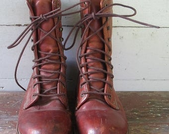 On Sale Leather Boots. Worn Loved. Made IN USA. Work boots. Logger boots