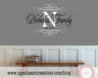 Family Name Wall Decal Personalized with Initial Monogram and Established Year - Wall Decal for Entryway and Bedroom 22H x 32W PD0050