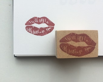 Hand carved rubber lipstick lips kiss stamp