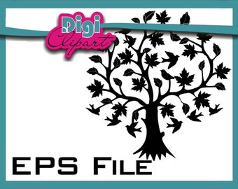 Tree Clip Art - Tree of Life Silhouette - EPS Scalable INSTANT Download