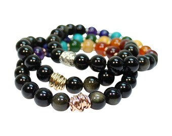 Chakra Bracelet - Black Obsidian with Twist