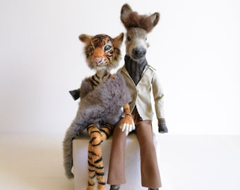 Art doll, art doll collection, sculpture needle felted doll couple donkey and Tiger