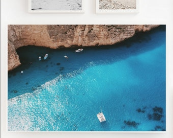 Summer in Greece PRINTABLE Beach poster | Aerial photography | Greece from above | Digital file | Instant Download | Mediteranean Summer
