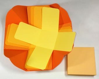 "Sunshine Explosion Box, Explosion Box, Summer Explosion Box, Shades of Yellow & Orange Explosion Box, 4"" x 4"" cube"