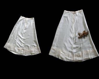 Vintage 1930's Off White Satin Skirt, Lightening Zipper, 30's Skirt, Wedding, Boudoir, Women's 25 26 Inch Waist