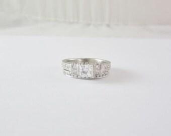 Estate Neil Lane 14k White Gold Diamond Wedding Ring Set 1.435ct GIA Appraised