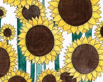 Sunflower Garden (Original Gouache Painting)