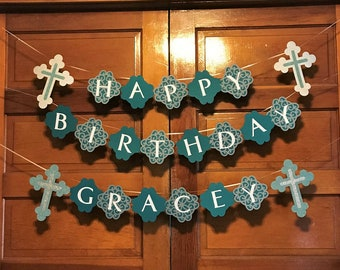 Birthday Banner with Crosses - teal and gray