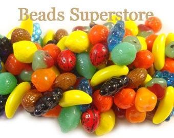 10-17 mm Multicolor Czech Glass Fruit Bead Mix - 24 pcs