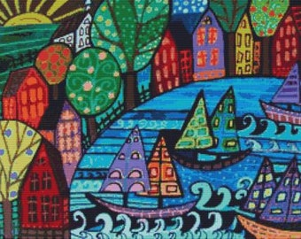 Boat cross stitch kit , Sail Boats, Heather Galler, counted cross stitch, Modern cross stitch
