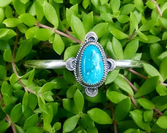 White Water Turquoise Silver Stacker Cuff Bracelet