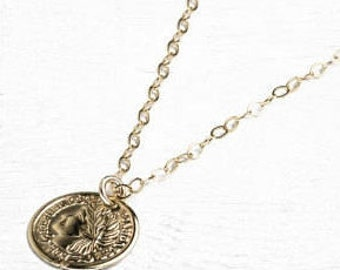 Gold coin necklace, tiny gold coin necklace, greek coin necklace, delicate necklace, coin pendant, gold coin charm, gold filled necklace