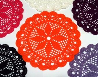 D-35(5) Crochet Doily Halloween Orange Doily Crochet Doily Hand crocheted  Lace MANDALA Crochet Round Doily