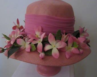 """Vintage 60s Pink Flower Hat made by """"Lee Bury"""""""