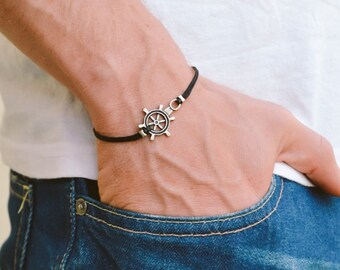Ship wheel bracelet, men's bracelet with a silver plated ship wheel, black cord, bracelet for men, gift for him, nautical men jewelry
