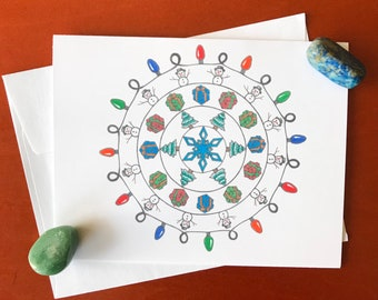 Snowmen mandala greeting card