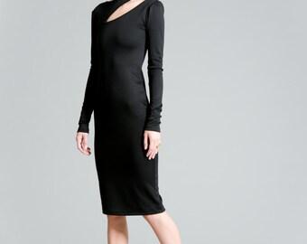 Black Dress / Party Dress / Long Sleeve Dress / Sheath Ponte Dress / Unique Party Dress / Fitted Dress / Marcellamoda - MD0363