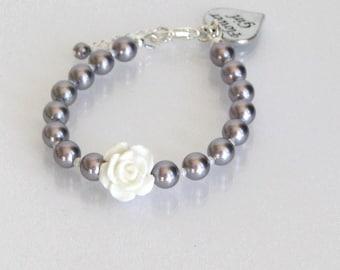 Mauve Flower Girl Bracelet, Pearl Flower Girl Bracelet, Mauve Flower Girl Jewelry, Junior Bridesmaid Bracelet, Junior Bridesmaid Jewelry