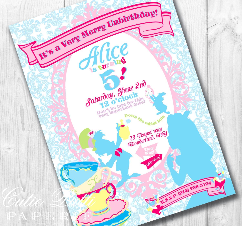 Alice in Wonderland Invitation Wonderland Invite Mad