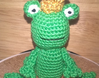 Mini Frog Prince Crochet Collectable Use for Dollhouse or as Decoration