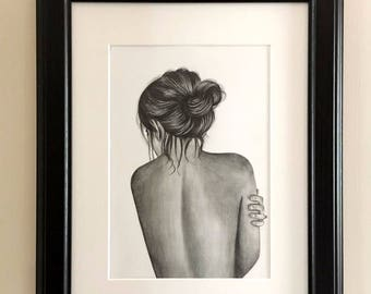 Custom Portrait from photo woman drawing woman nude pencil drawing naked woman undressed realistic woman drawing human drawing woman gift