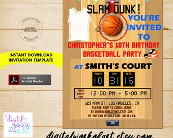 Basketball Party Invitation Template, Basketball Party, Birthday, basketball invitation, invite, editable, invitation template, PDF, bball