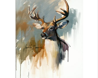 Buck Art - Matted Print of Original Oil Painting - Animals, Deer, Hunters, Boy, Girl, For Wall, Fun Art