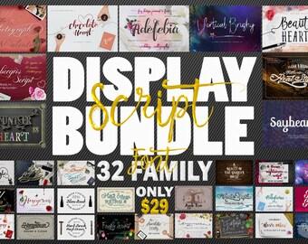 UPDATED!  Display Script Bundle (32 Font Family)