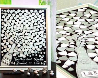3D wedding Guest Book White Silver Gold Sign Guest Book Wedding Guest Book Wedding Guestbook Splash Champagne Guest Book Wedding Guest book
