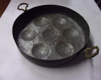 Antique copper egg poucher pan