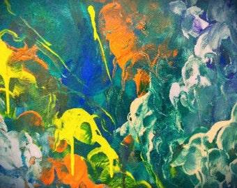 Original Papier abstrakt Acryl Art blau Malerei abstrakte moderne Wand Kunst moderne Kunst original Papier Kunst Giclée Druck moderner Kunstdruck