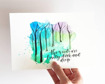 Handmade Forest Watercolor Painting, Woods painting, Custom quote, trees painting