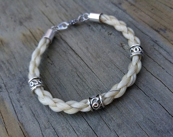 Horse Hair Bracelet with Beads - Braided Horsehair Jewelry