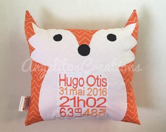 Fox shaped Birth Announcement Pillow - birth stats baby gift