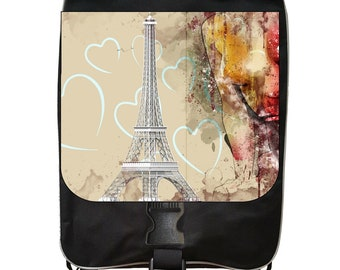 Vintage Style Parisian Eiffel Tower Paris and Hearts Love Abstract Print Design - Black School Backpack
