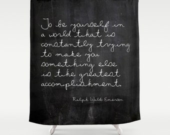Rustic Shower Curtain Ralph Waldo Emerson Quote, Rustic Bathroom Decor, Fabric Shower Curtain, Black and White, Standard and Extra Long