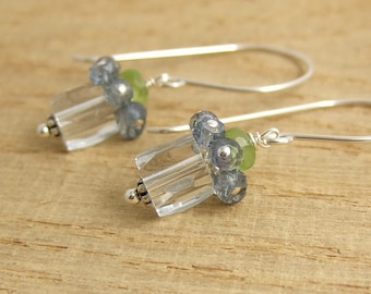 Earrings with Sterling Silver, Long Earring Wires, Etched Glass Beads, Blue Mystic Quartz and Peridot BE-215