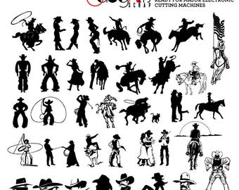 Cowboy, Cowgirl Clip Art Digital Cut Files Svg Dxf Eps Png Silhouette SCAL Cricut Vector Printable Download Paper, Vinyl Die Cutting JB-707