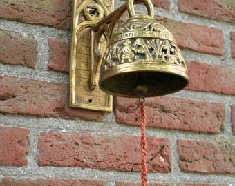 """Antique Solid French  Brass Church Bell-  Vintage Wall Mount Brass Bell- Antique French Sanctuary Bell with  """"Depose""""Mark"""