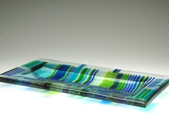 Thick  Rectangular Cast GLASS PLATTER Greens, Blue and Clear -  Transparent STRIPES - One of a Kind