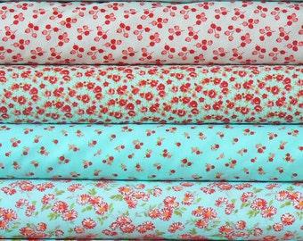 4 Half Yard Bundle .. Little Ruby ... by Bonnie and Camille .. Moda Fabrics .. aqua, cream, red
