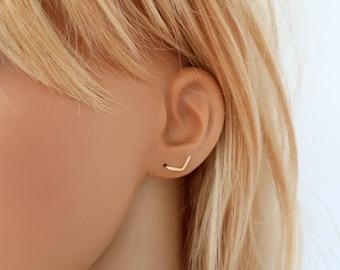 Tiny gold stud earrings, gold filled stud earrings, v earrings chevron earrings
