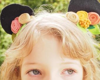 Felt Flower Crown with Animal Ears - Bear Ears - Cute Floral Headband - Gorgeous Hair Accessory - Fits Child and Adult